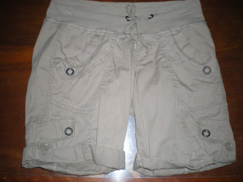 Cargo shorts with a knit waistband.  Perfect combination of waistband stretch and fashion.  Kohls, $20, Juniors section