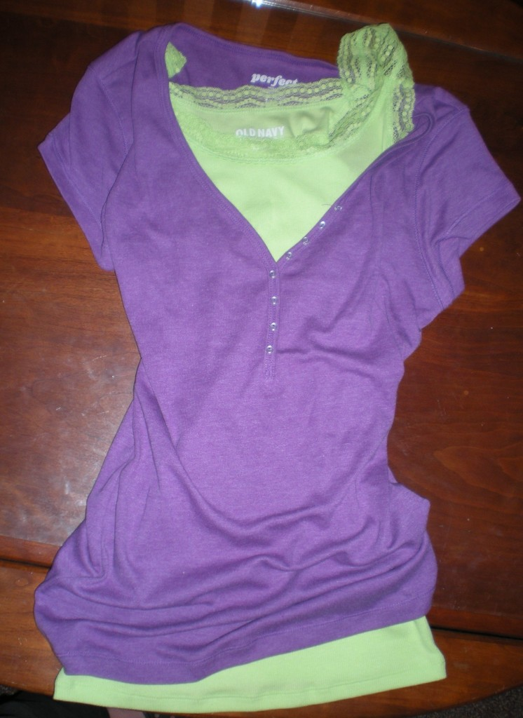 Lacy long tanks for layering (in bright colors) and tees for layering overtop-  Old Navy, $9 tanks, $7 tees