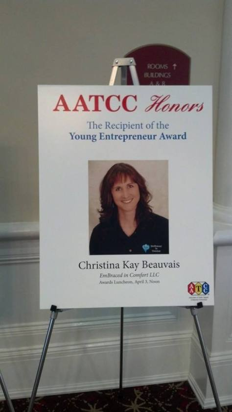 "This poster met me every day of the conference.  Thank-you AATCC for recognizing Entrepreneurs and ""Just Moms"" Like me."